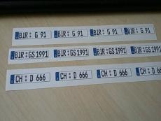 Modellauto Wunschkennzeichen für 1:18 Modelle oder auch im Maßstab 1:10