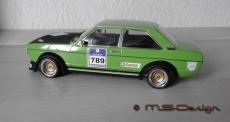 Audi 80 GTE, 1972, Hellgrün / black Gruppe 2 Umbau 1:18