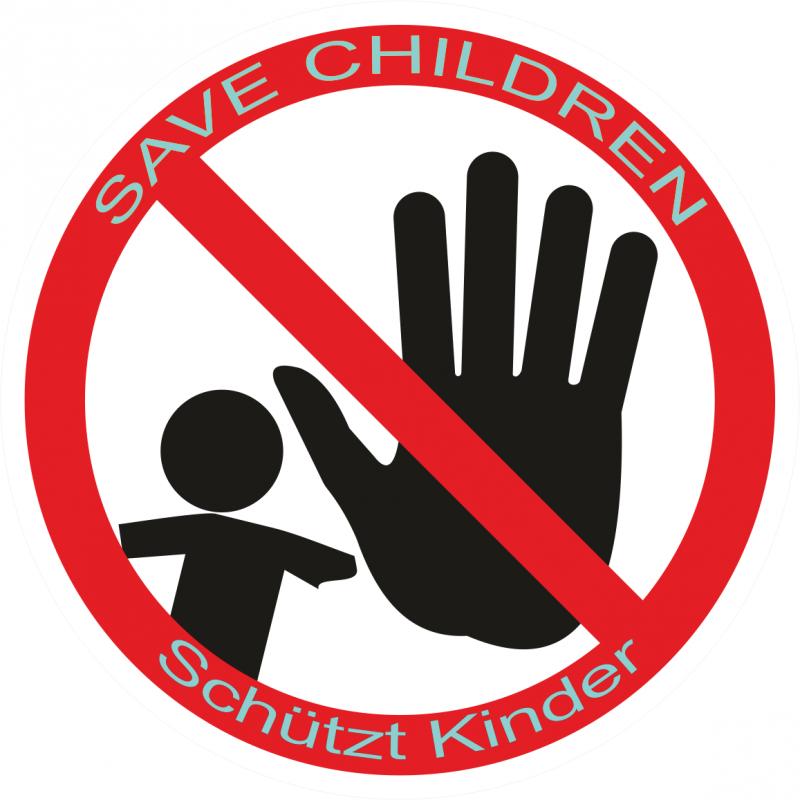 Schützt Kinder / Save Children Aufkleber Ø 80mm Kontur geschnitten