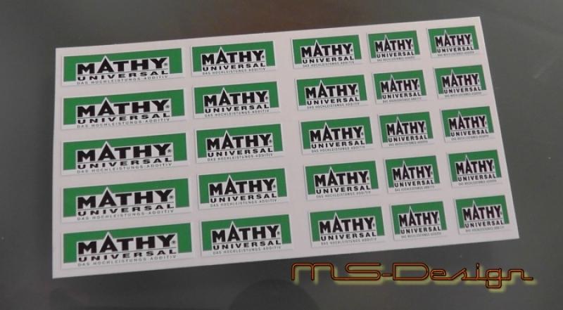 Aufkleberset MATHY Set - 1 --   1:18 Neu selbstklebend Kontur geschnitten