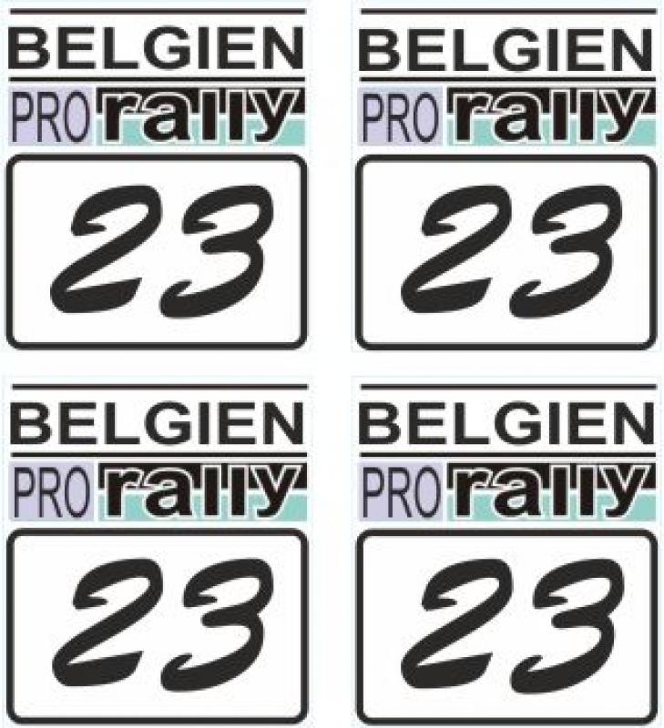 Belgien PRO RALLY #23 Startzahl 1:18 Modellbau Set a 4 Stück