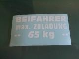 Beifahrer max. 65 KG
