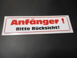 Anfänger Aufkleber bitte Rücksicht Anfänger Spruch Fun Sticker Auto
