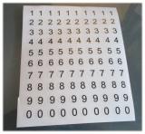 100 Klebezahlen 8mm hoch, Druck auf Klarsichtfolie Arial Black runde Kontur