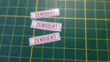 3 X Zensiert Aufkleber, selbstklebend für Modellbau