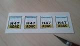 4 Aufkleber Startzahlen H 47 Digitaldruck selbstklebend