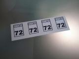 4 Aufkleber Startzahlen  EMCO 72  Digitaldruck selbstklebend