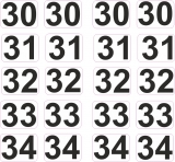 Aufkleber Startzahlen  30 - 34  Digitaldruck selbstklebend