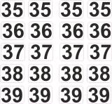 Aufkleber Startzahlen  35 - 39  Digitaldruck selbstklebend
