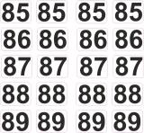 Aufkleber Startzahlen  85 - 89  Digitaldruck selbstklebend