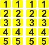 Aufkleber Startzahlen  1 bis 5  Digitaldruck selbstklebend Farbe Gelb - Schwarz