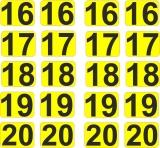 Aufkleber Startzahlen  16 - 20  Digitaldruck selbstklebend gelb schwarz