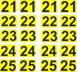Aufkleber Startzahlen  21 - 25  Digitaldruck selbstklebend gelb schwarz