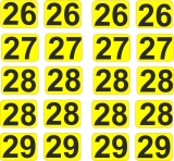 Aufkleber Startzahlen  26 - 29  Digitaldruck selbstklebend gelb schwarz