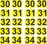 Aufkleber Startzahlen  30- 34  Digitaldruck selbstklebend gelb schwarz