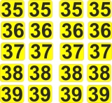 Aufkleber Startzahlen  35 - 39  Digitaldruck selbstklebend gelb schwarz